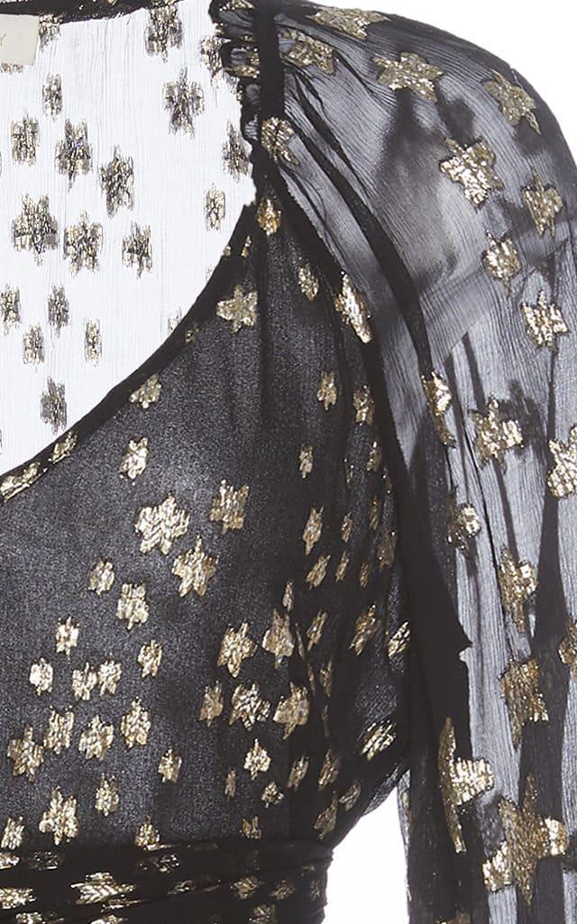 LOVESHACKFANCY Rina Fil Coupé Chiffon Mini Dress