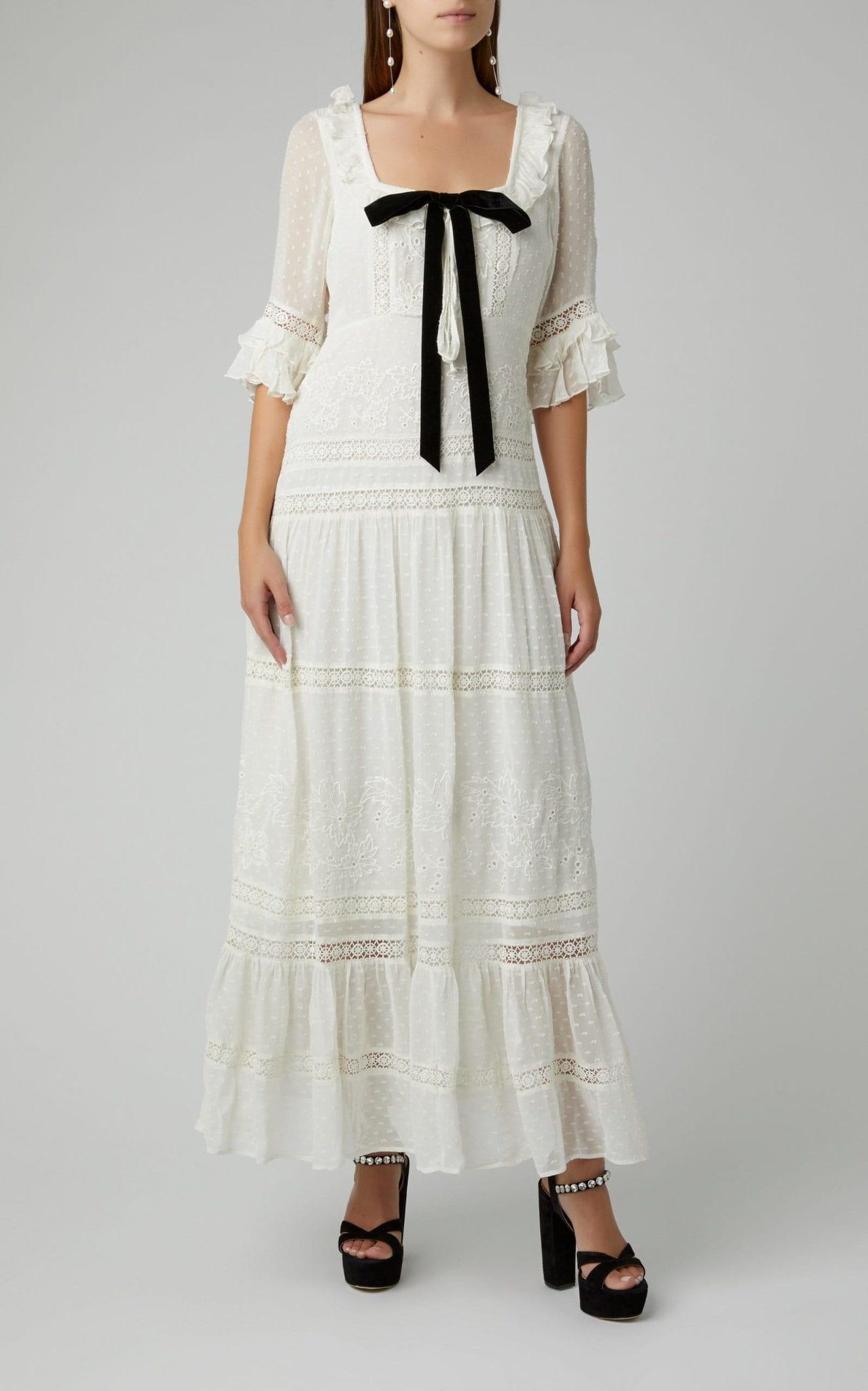 LOVESHACKFANCY Stori Ruffled Silk Maxi Dress