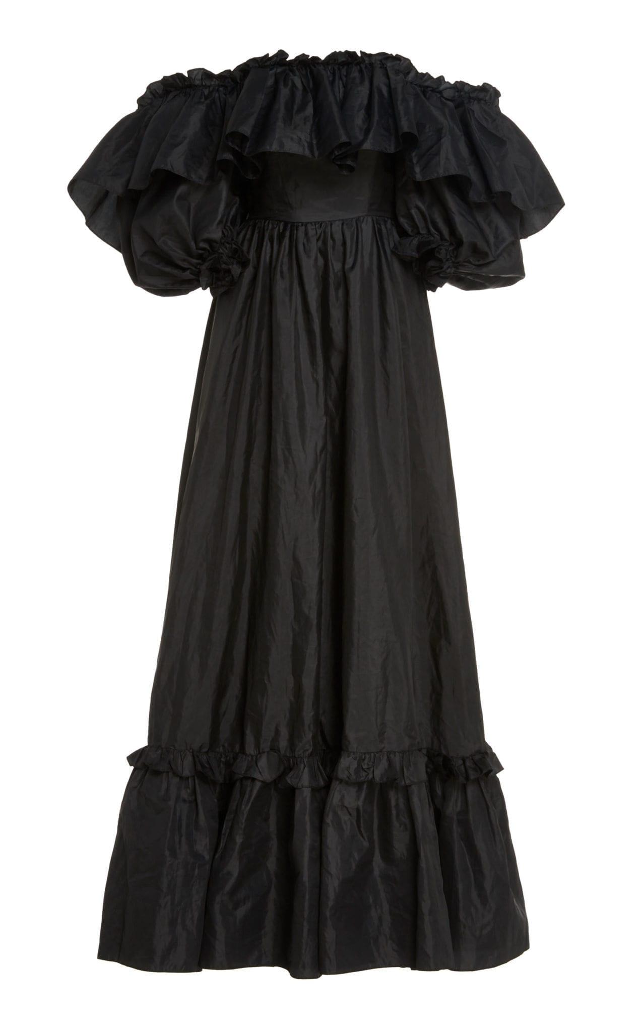 LOVESHACKFANCY Tara Off-The-Shoulder Ruffled Taffeta Gown