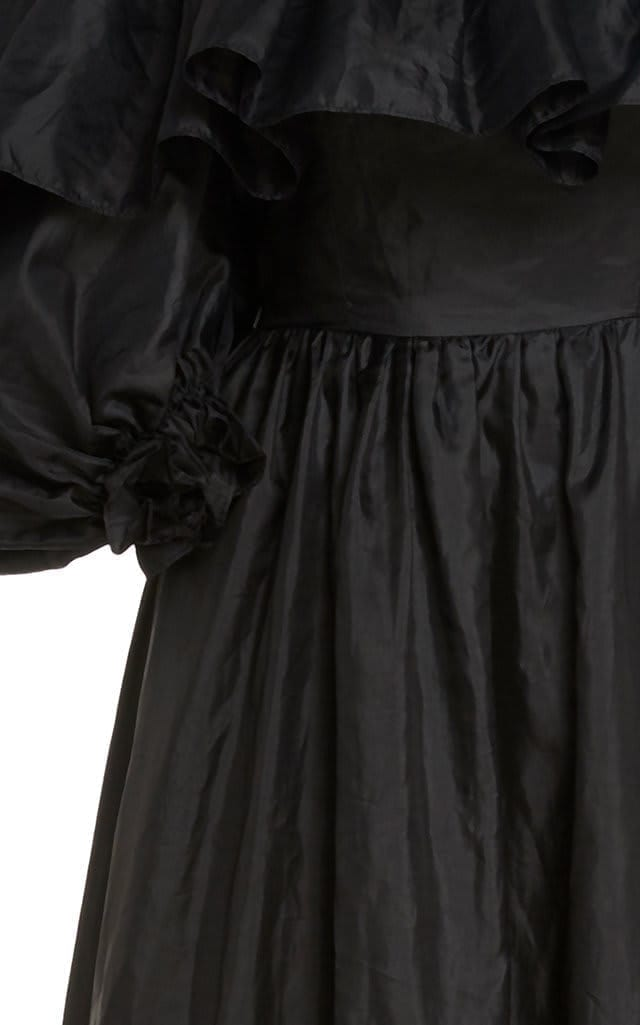 LOVESHACKFANCY Tara Off-The-Shoulder Ruffled Taffeta Gown