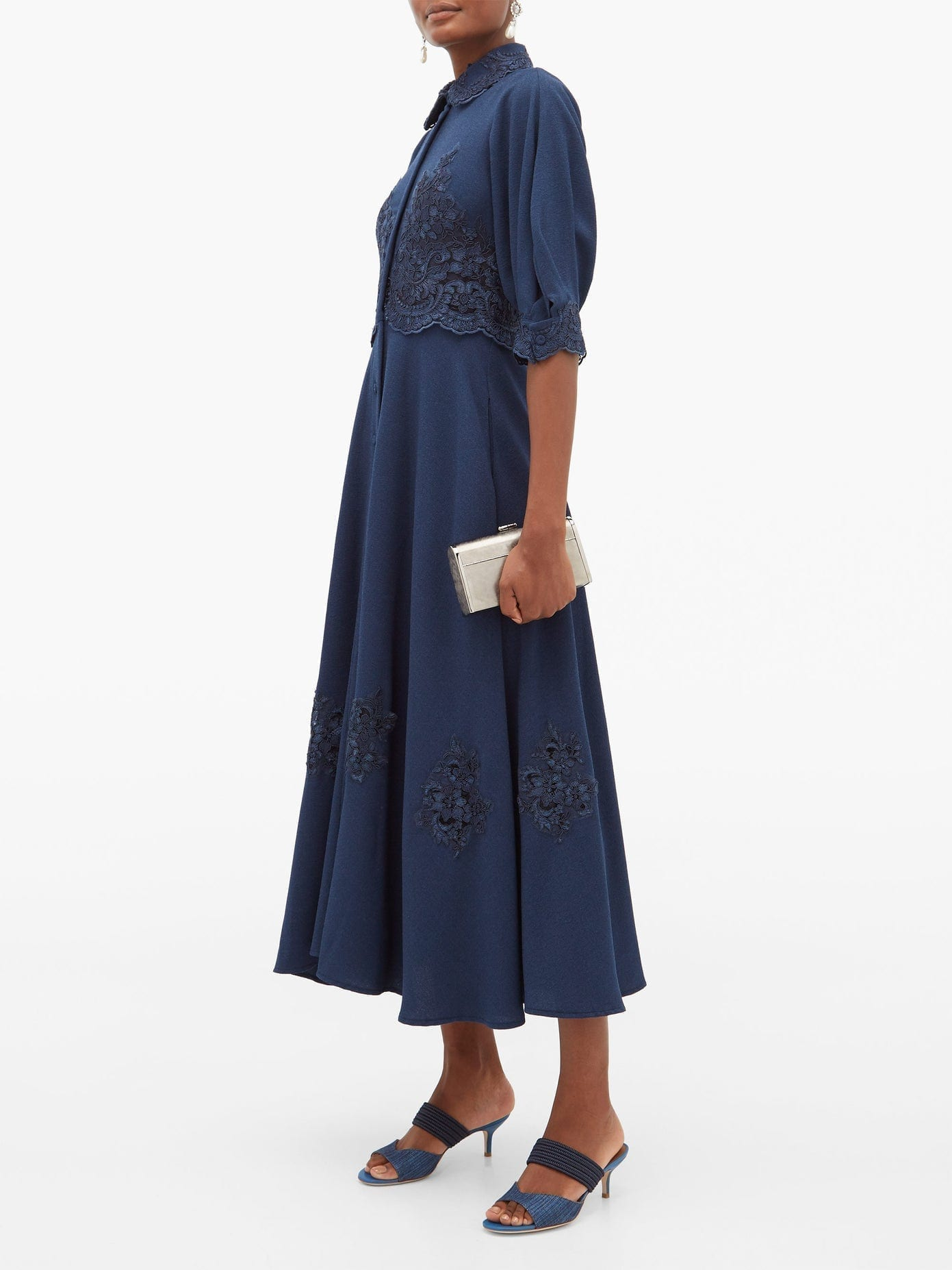 LUISA BECCARIA Chantilly Lace-trim Cady Dress