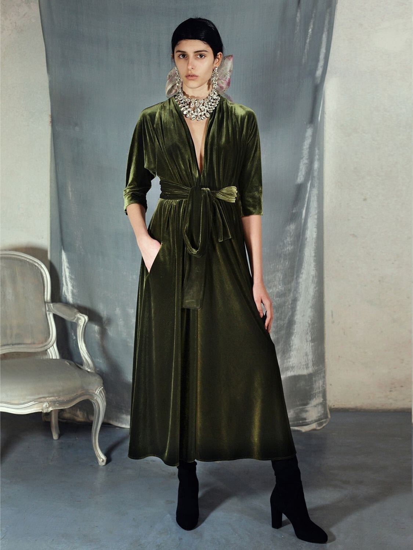 LUISA BECCARIA Flared Velvet Midi Dress