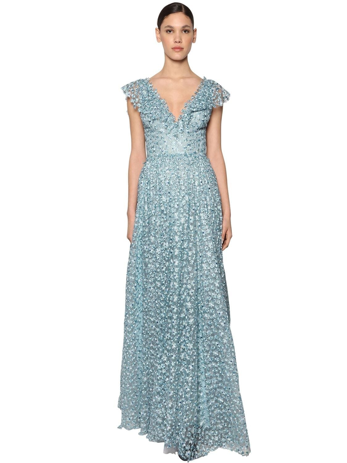 LUISA BECCARIA Long Embroidered Chiffon Dress