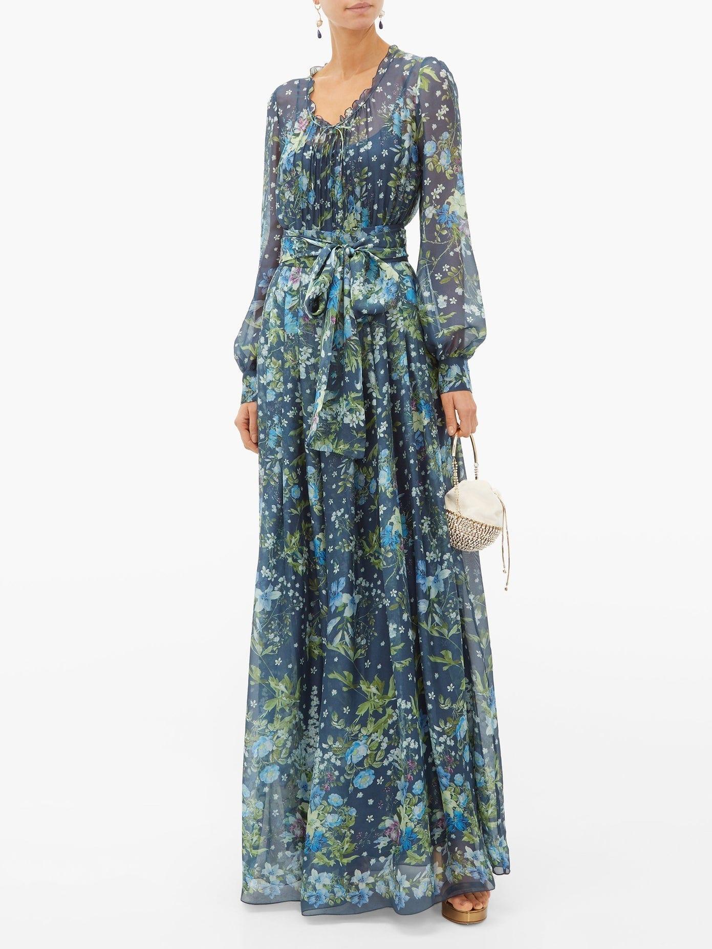 LUISA BECCARIA Waist-Tie Floral-Print Silk-Organdy Gown