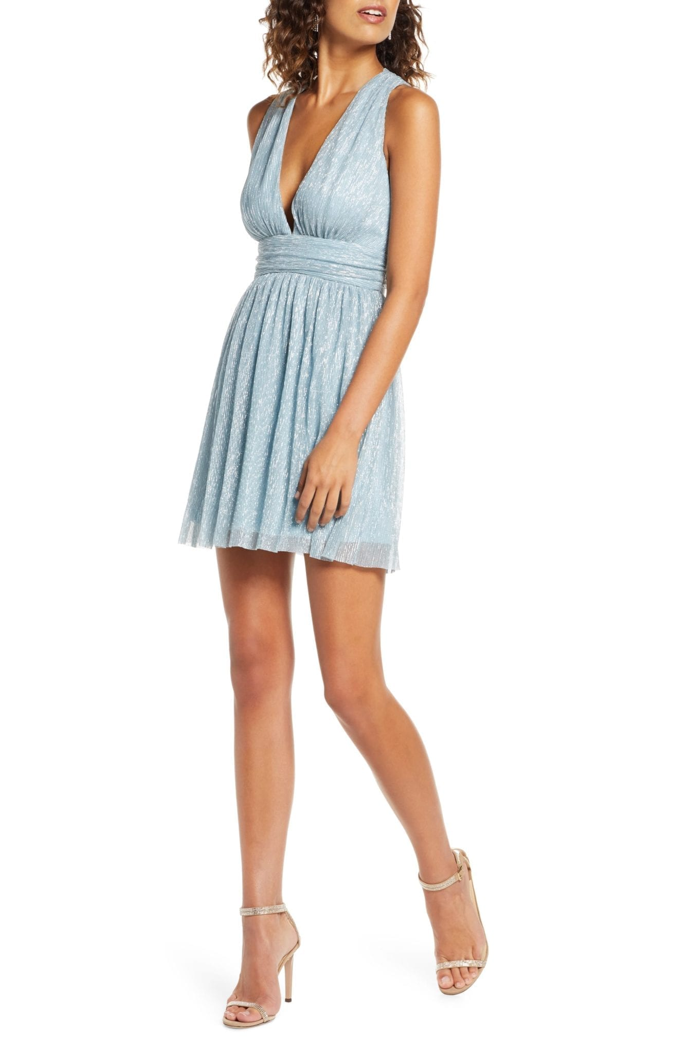 LULUS Metallic Stripe Twist Back Skater Dress