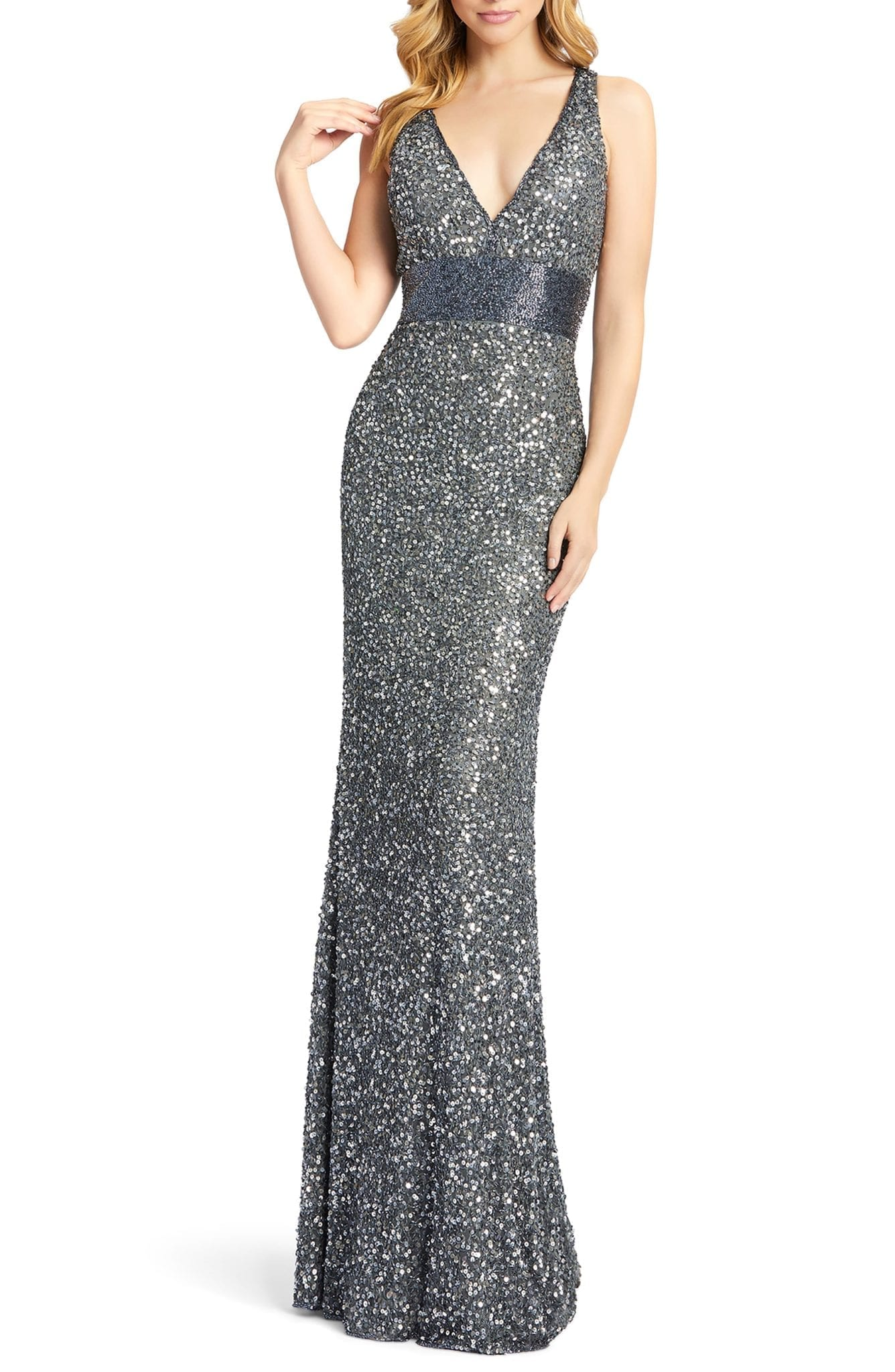 MAC DUGGAL Beaded Waist Evening Dress