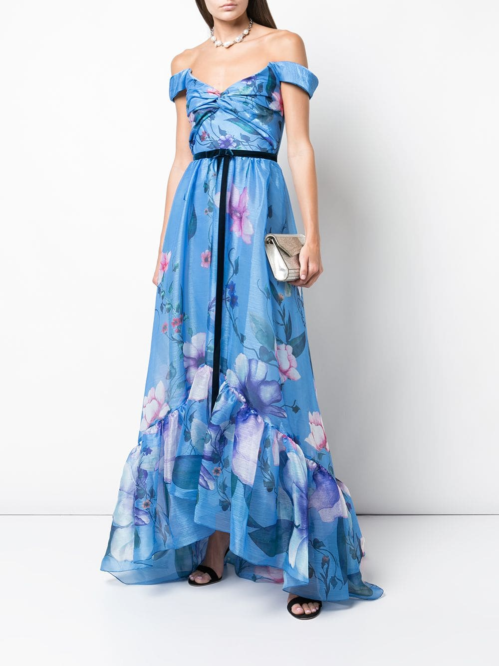 MARCHESA NOTTE Floral Print Organza Gown