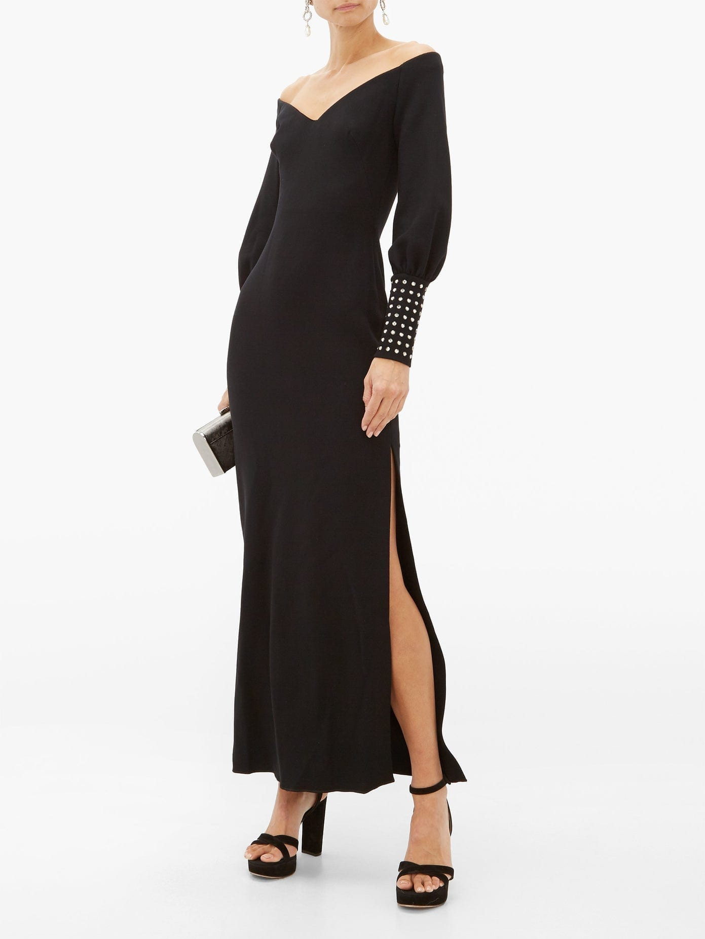 MARIA LUCIA HOHAN Elsie Crystal-cuff Stretch-knit Dress