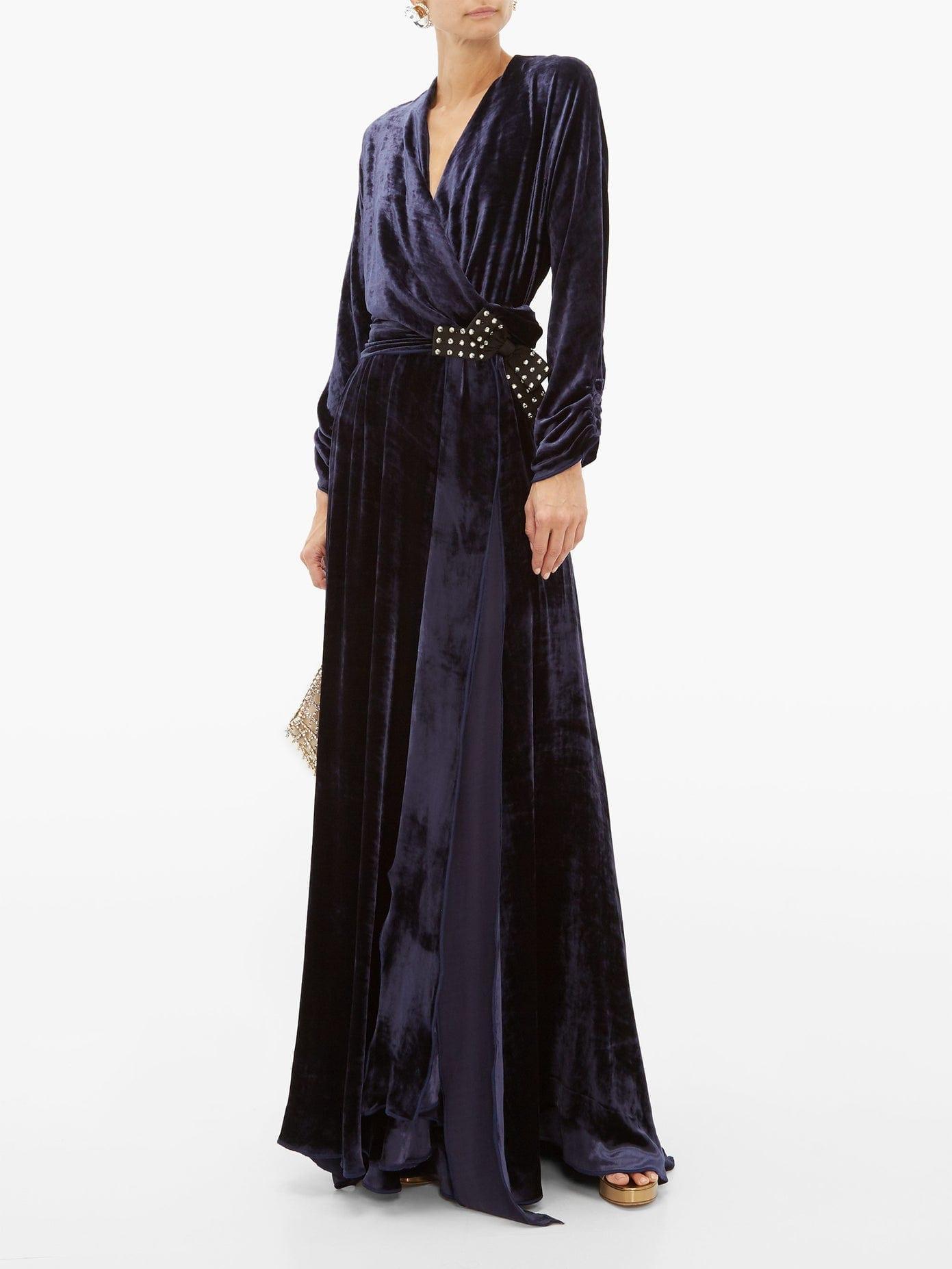 MARIA LUCIA HOHAN Kamelia Polka-dot Bow Velvet Wrap Dress