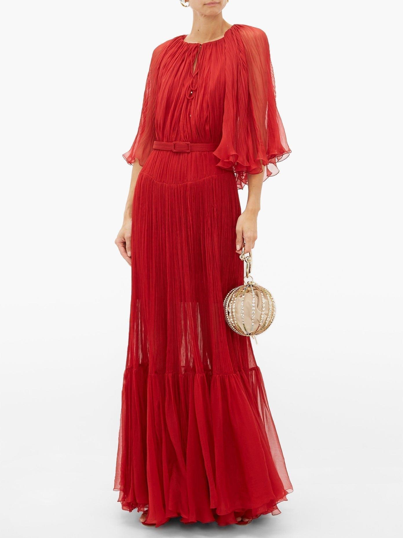 MARIA LUCIA HOHAN Selah Belted Plissé-chiffon Gown