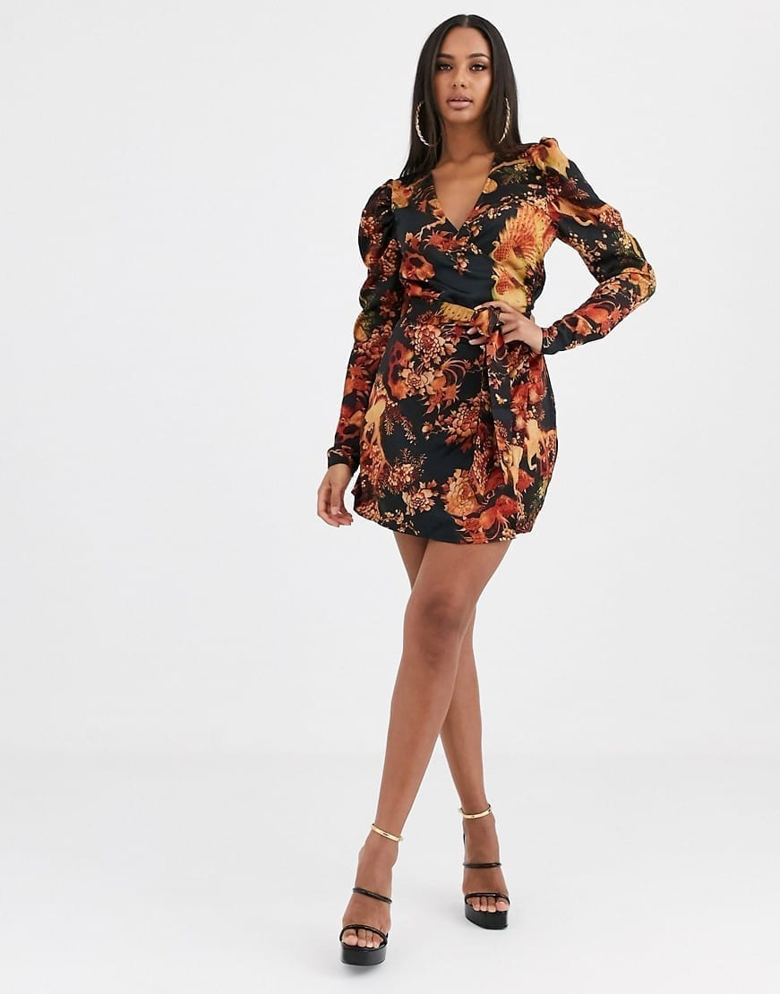 MISSGUIDED Puff Sleeves Wrap Dress