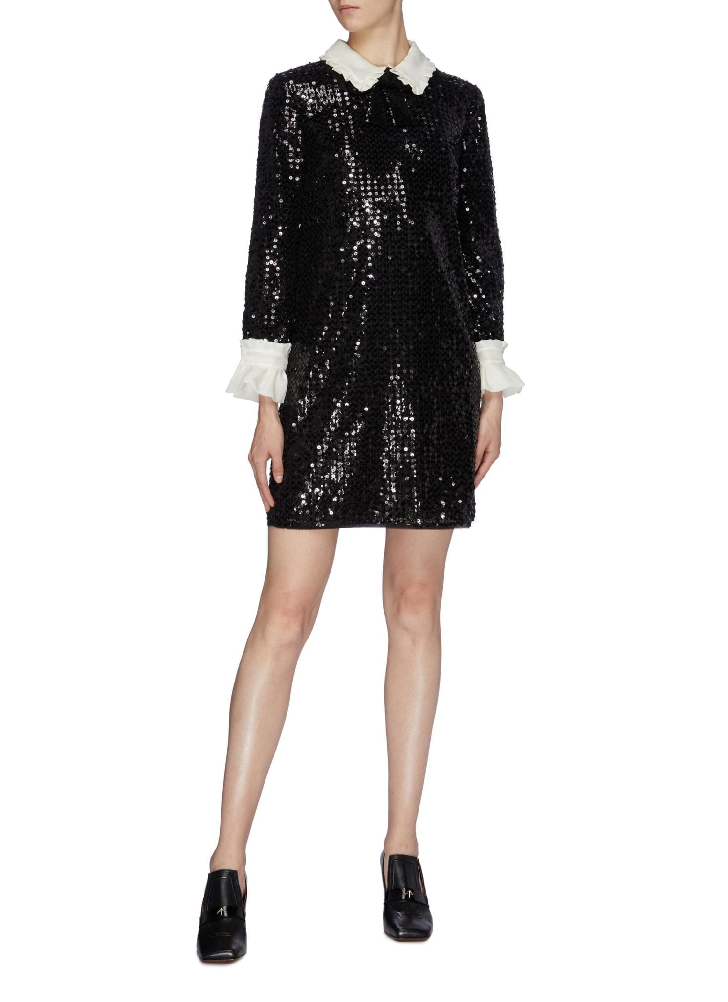 MIU MIU Chiffon Ruffle Collar Sequin Dress