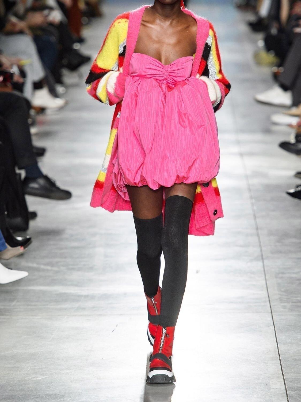 MSGM Acetate & Cotton Moiré Mini Dress