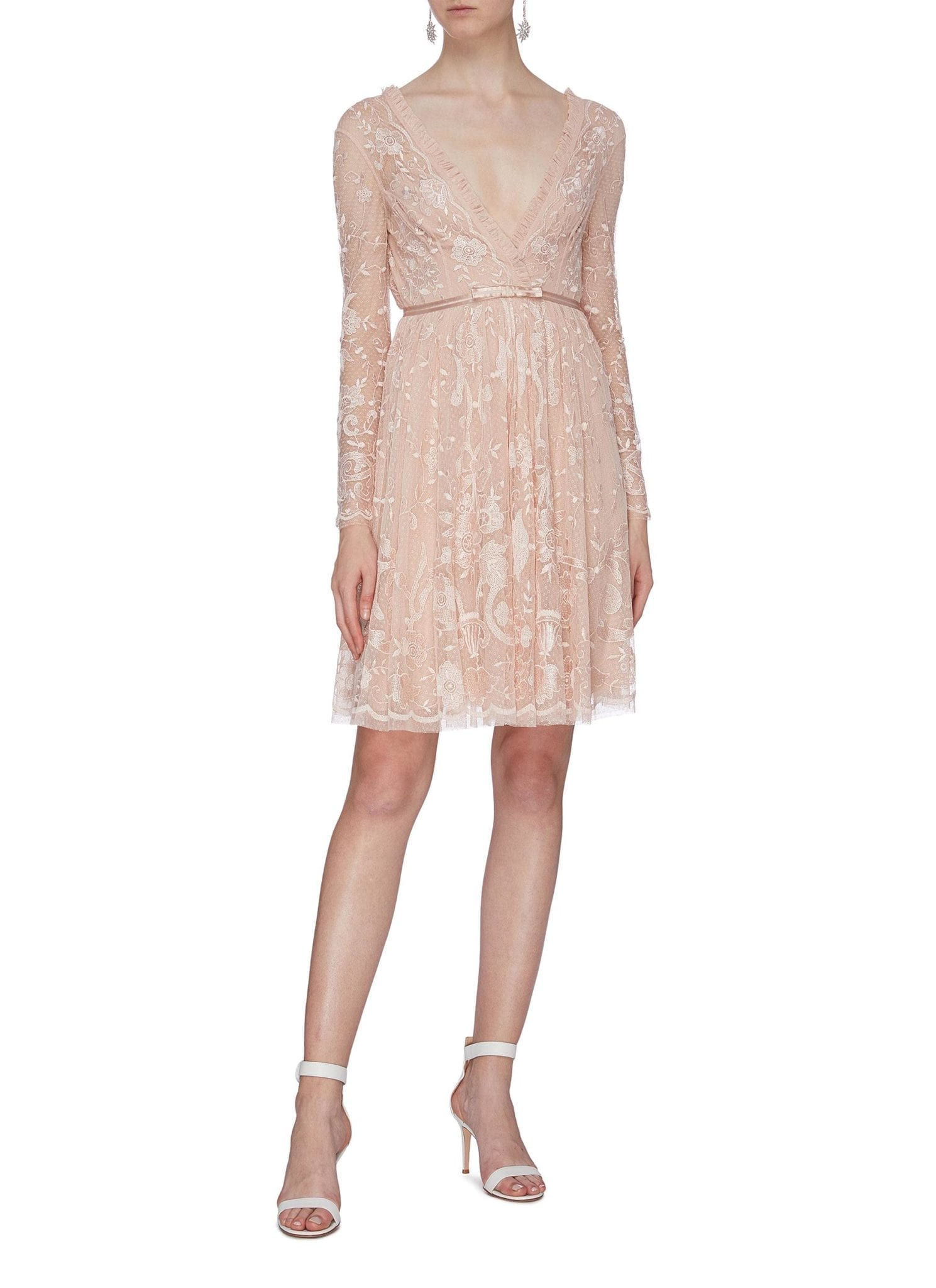 NEEDLE & THREAD 'Eleanor' Floral Embroidered Mock Wrap Tulle Mini Dress