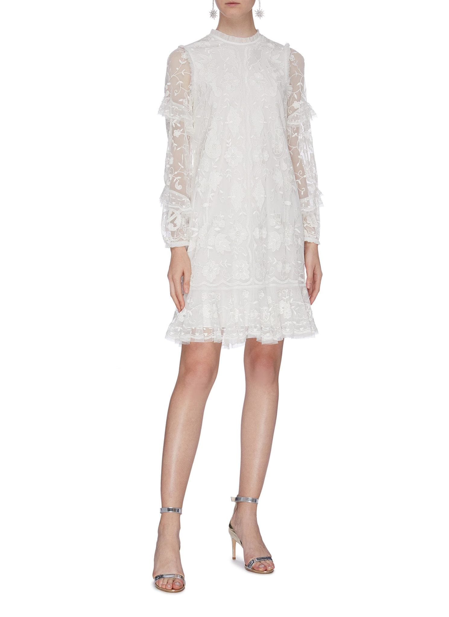 NEEDLE & THREAD 'Ellie' Ruffle Sleeve Floral Embroidered Tulle Dress