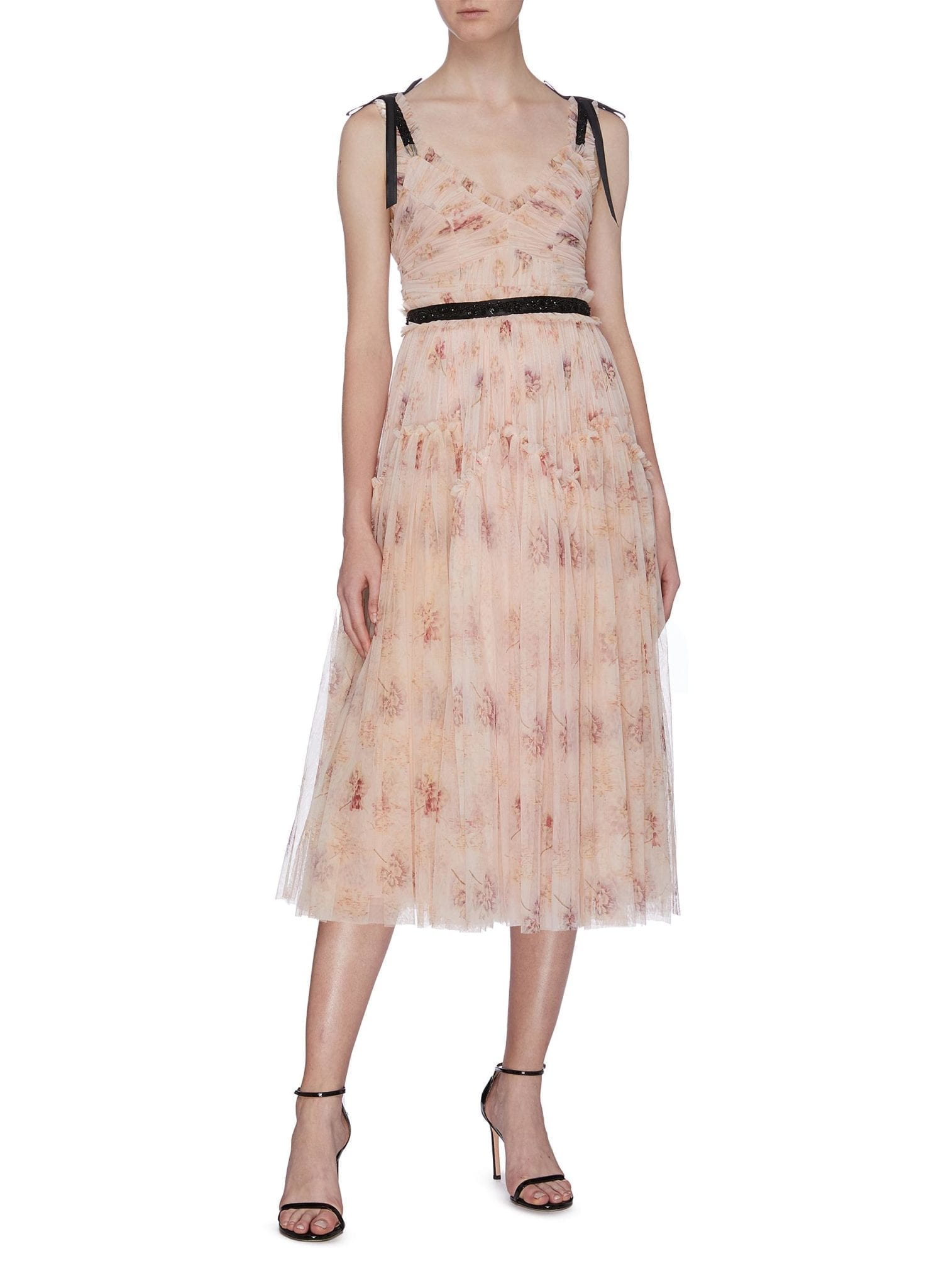 NEEDLE & THREAD 'Think Of Me Arabesque' Pleated Floral Print Tulle Dress