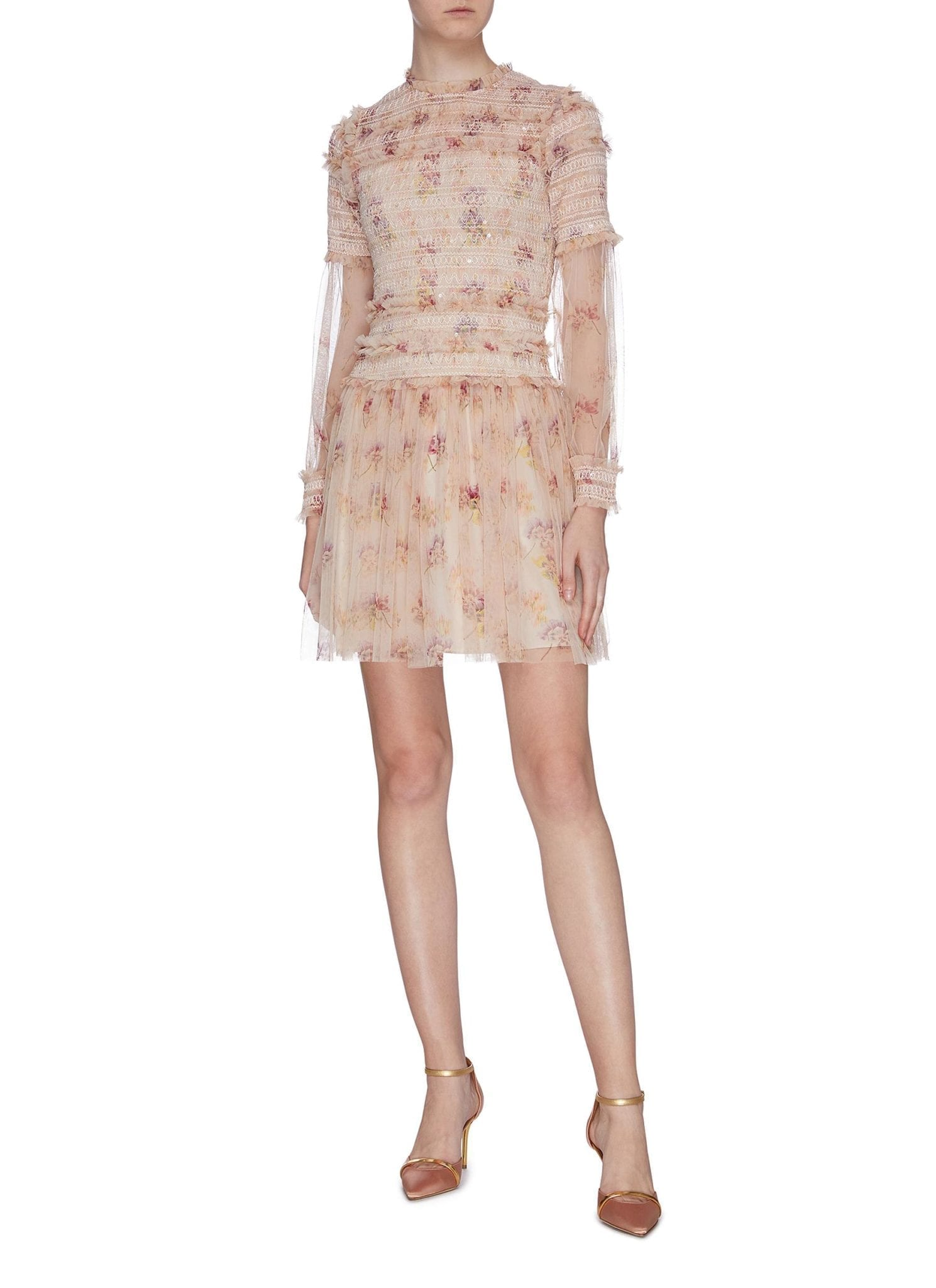 NEEDLE & THREAD 'Think Of Me' Ruffle Smocked Floral Print Tulle Dress