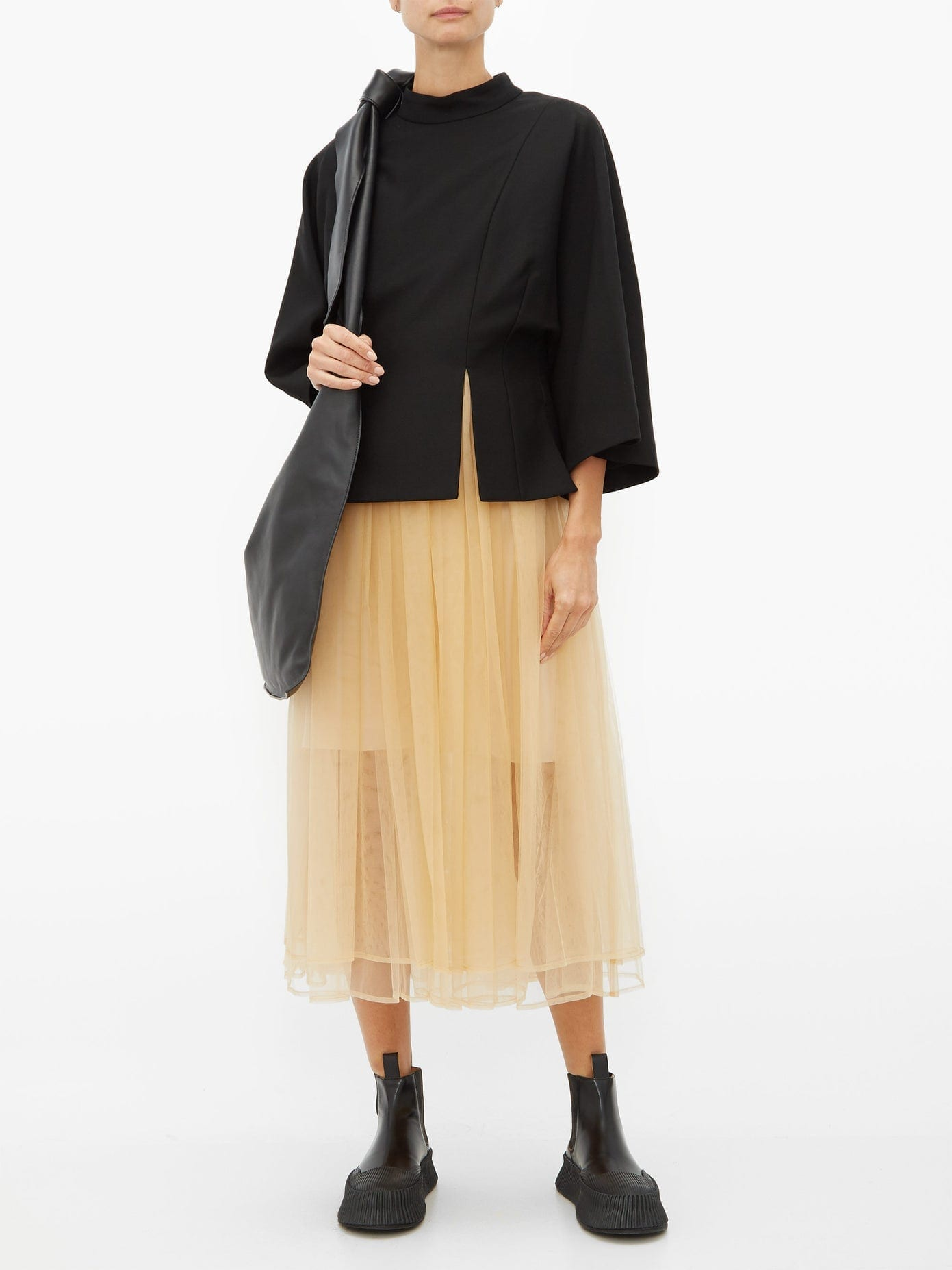NOIR KEI NINOMIYA Layered Gabardine And Tulle Midi Dress