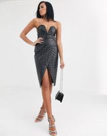 OPULENCE ENGLAND Premium Party Pu Sequin Midi Dress