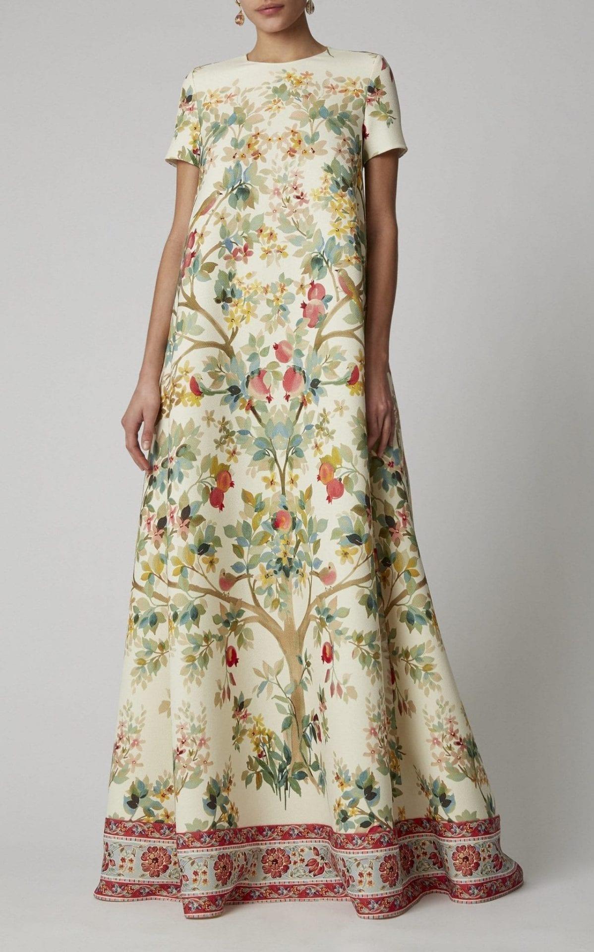 OSCAR DE LA RENTA Floral-Print Wool Gown