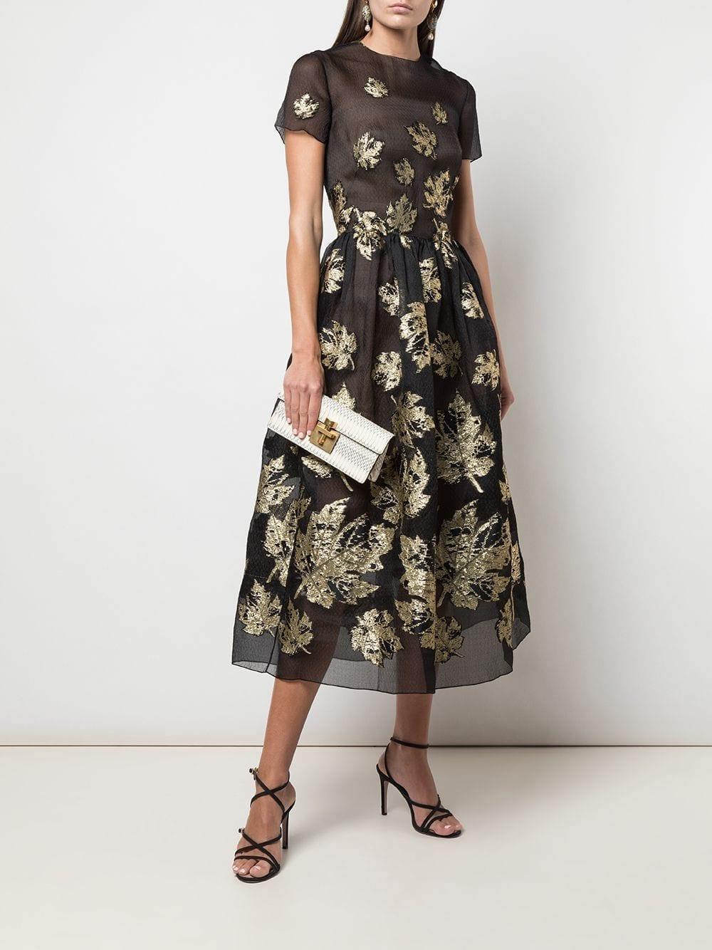 OSCAR DE LA RENTA Sheer Leaf Print Dress