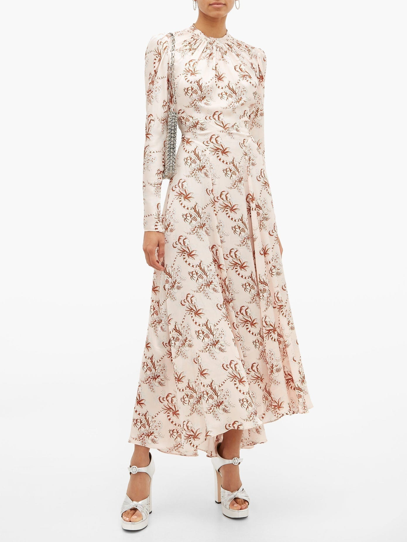 PACO RABANNE Crystal-Button Floral-Print Satin Maxi Dress
