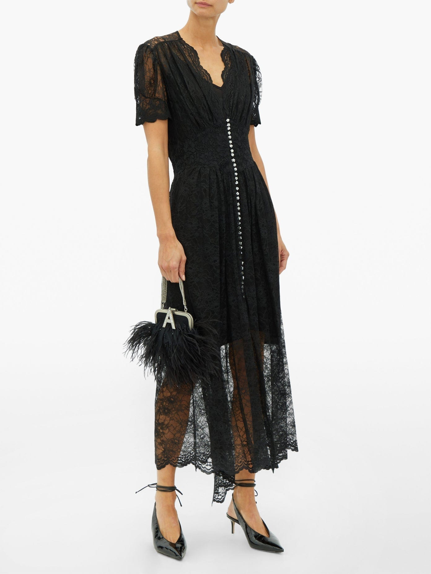 PACO RABANNE Crystal-button Lace Maxi Dress