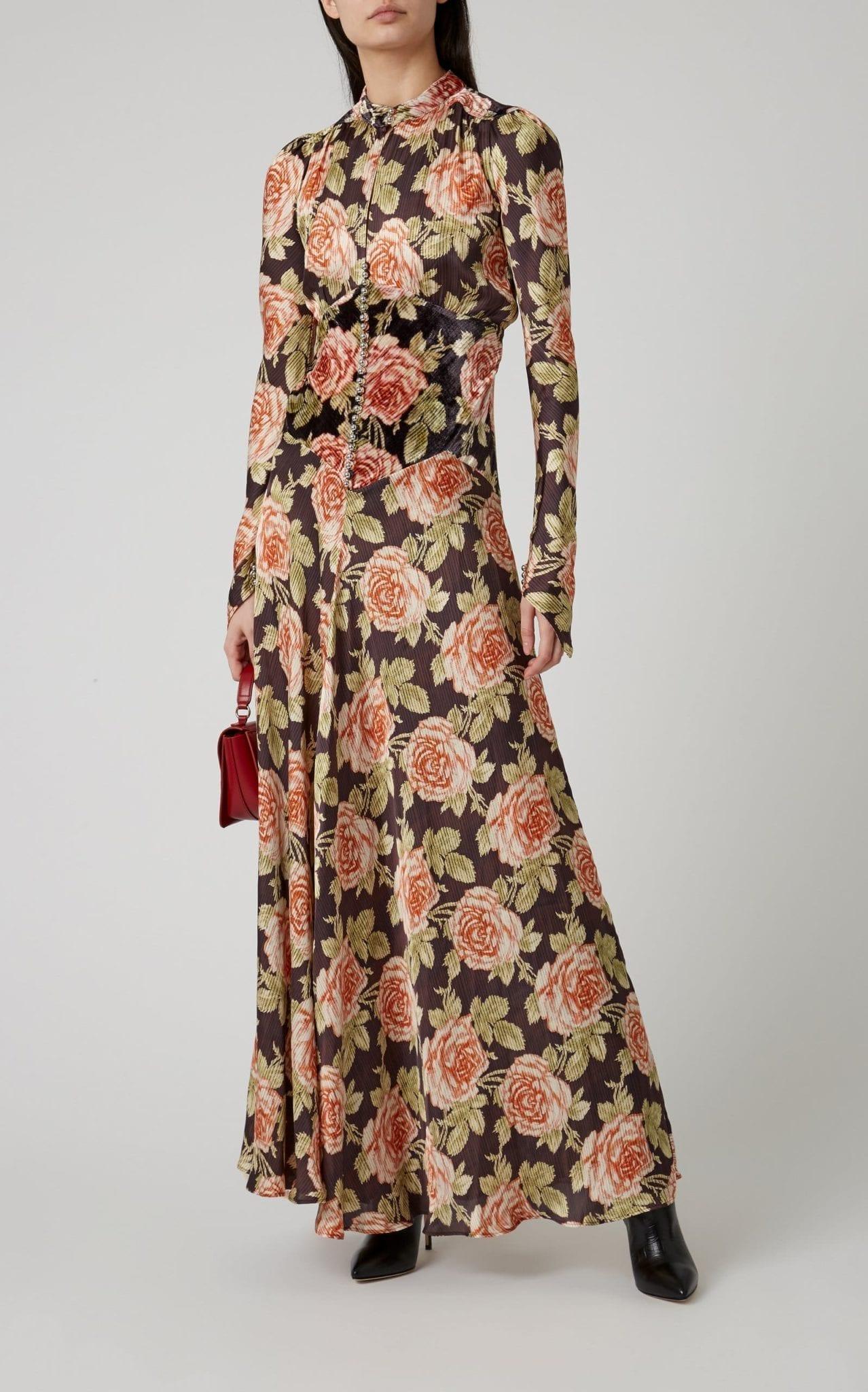 PACO RABANNE Floral-Print Gauze Maxi Dress
