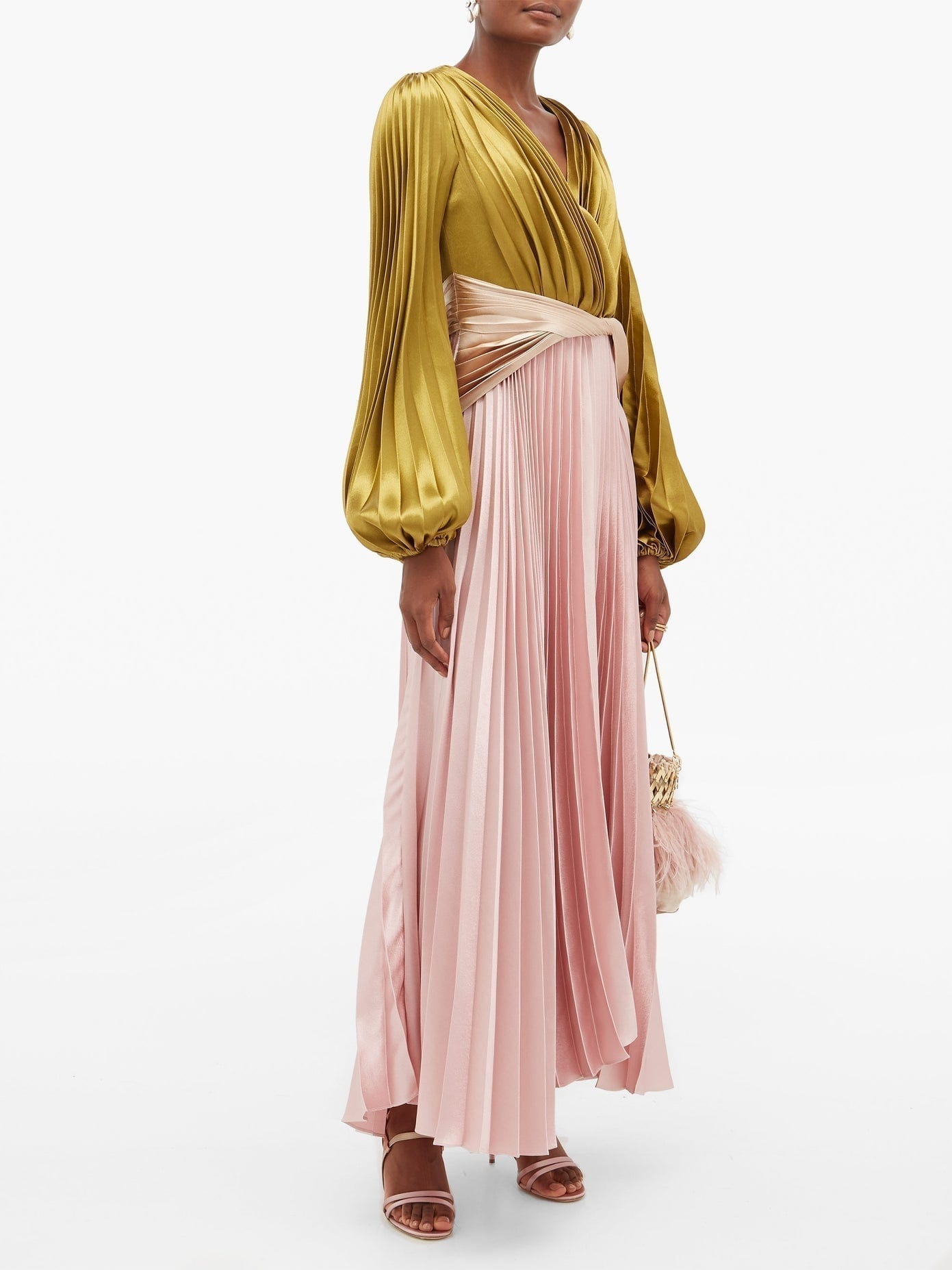 PETER PILOTTO Balloon-sleeve Pleated Charmeuse Gown