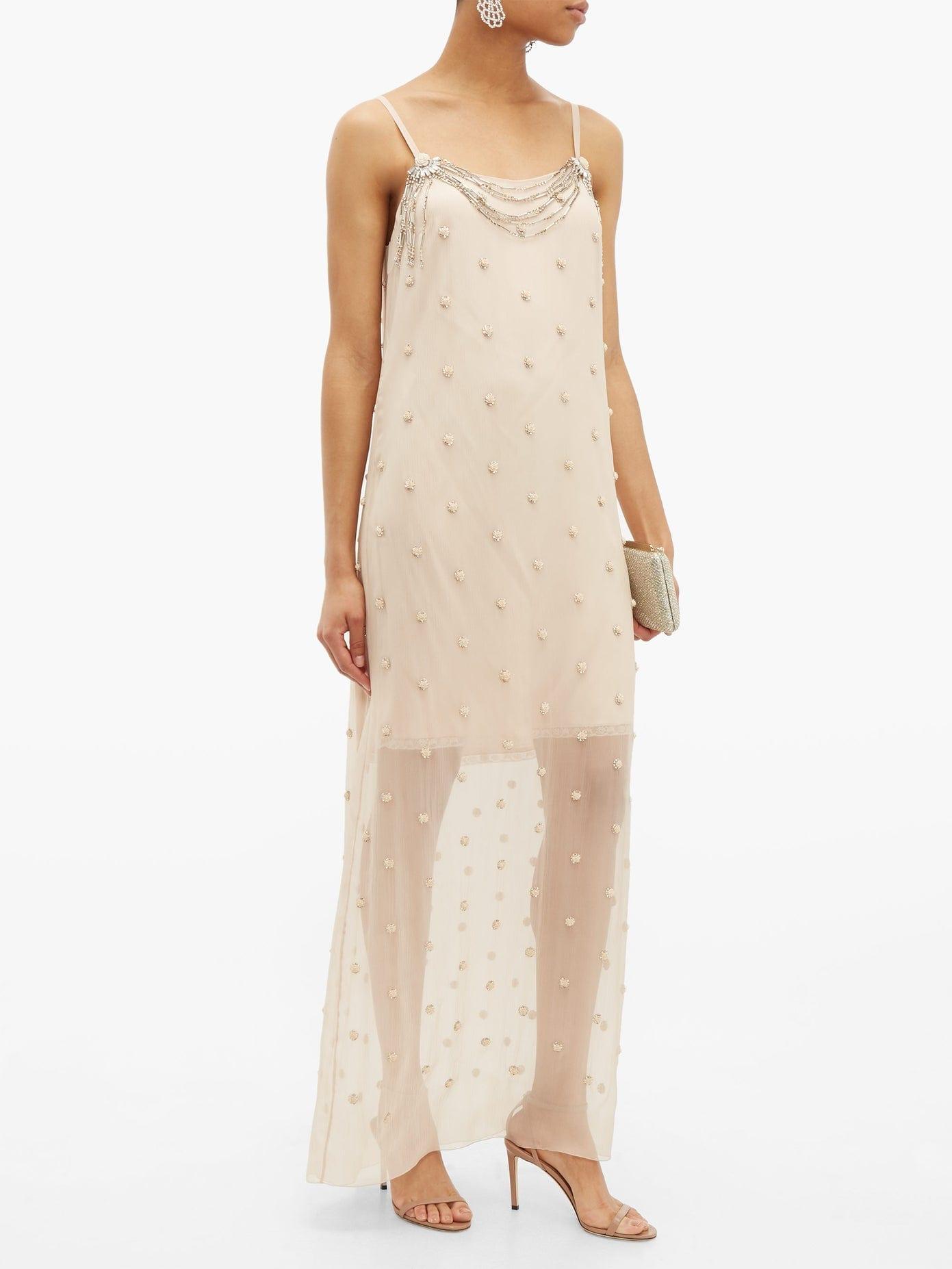 PRADA Crystal-Embellished Silk-Chiffon Dress