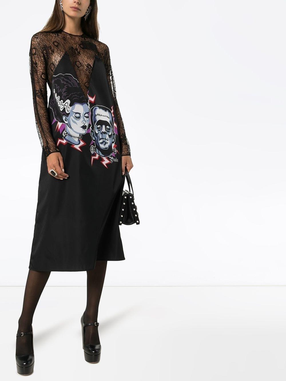 PRADA Frankenstein Print Lace Midi Dress