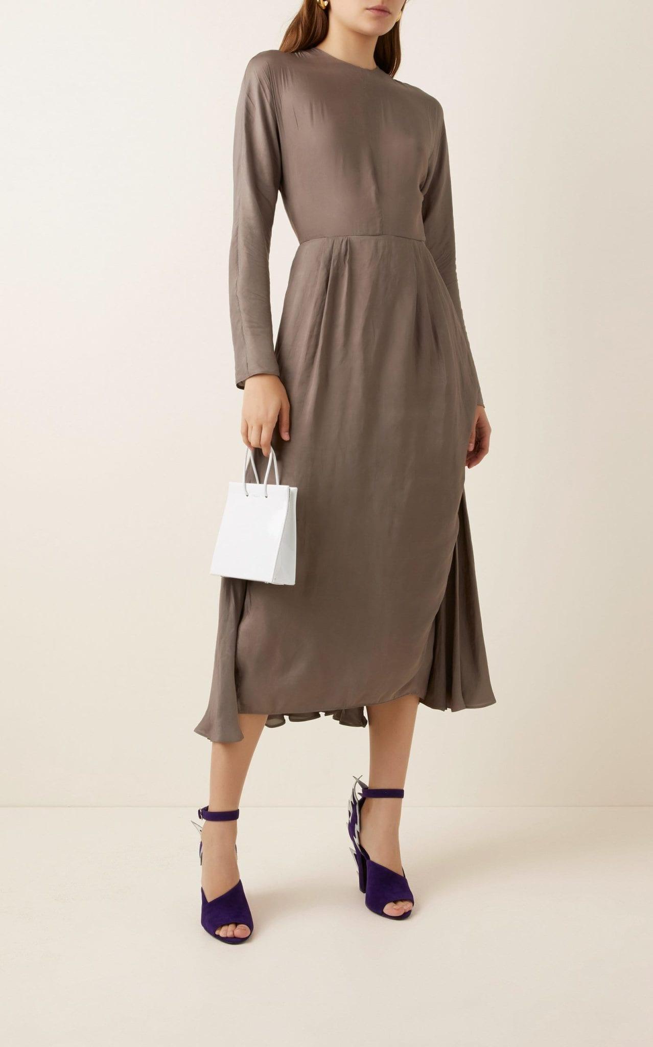 PRADA Pleated Chiffon Midi Dress
