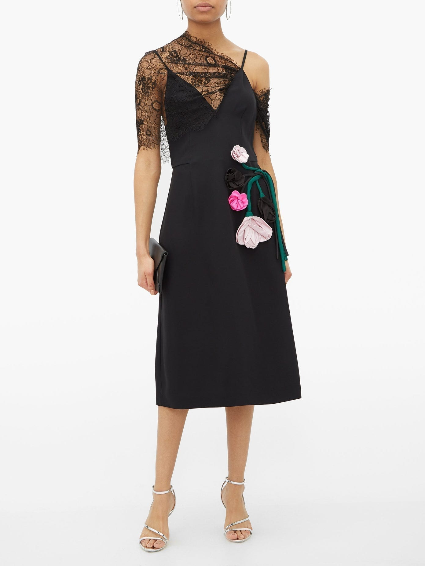 PRADA Rose-appliqué Lace-overlay Midi Dress