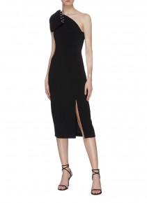 REBECCA VALLANCE 'Pipi' Faux Pearl Trim Bow One Shoulder Dress