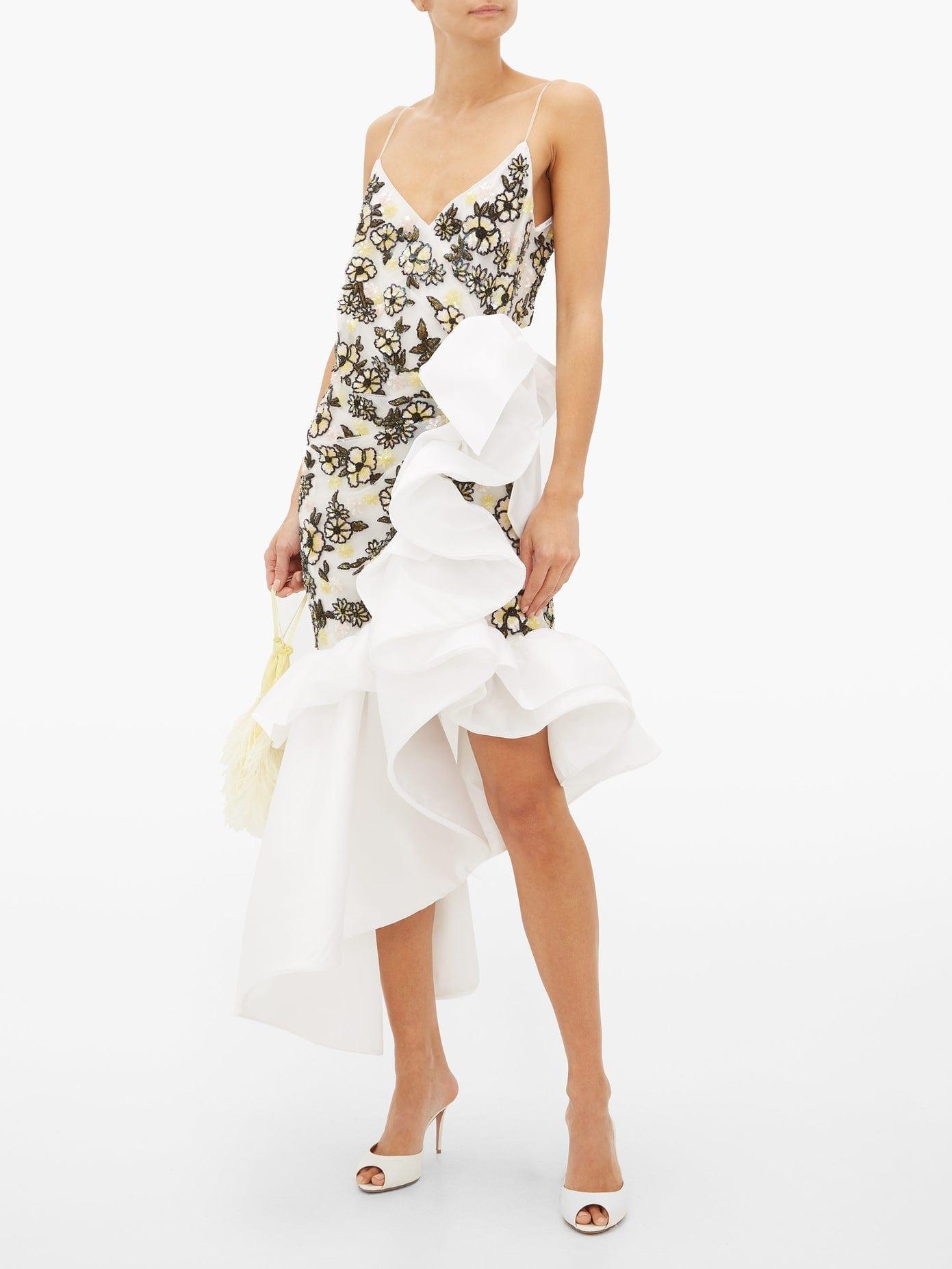RODARTE Ruffled Floral-Beaded Silk-Blend Tulle Dress