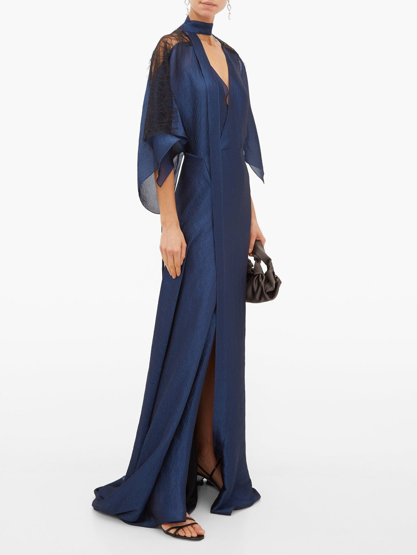 ROLAND MOURET Weston Draped Chiffon Gown