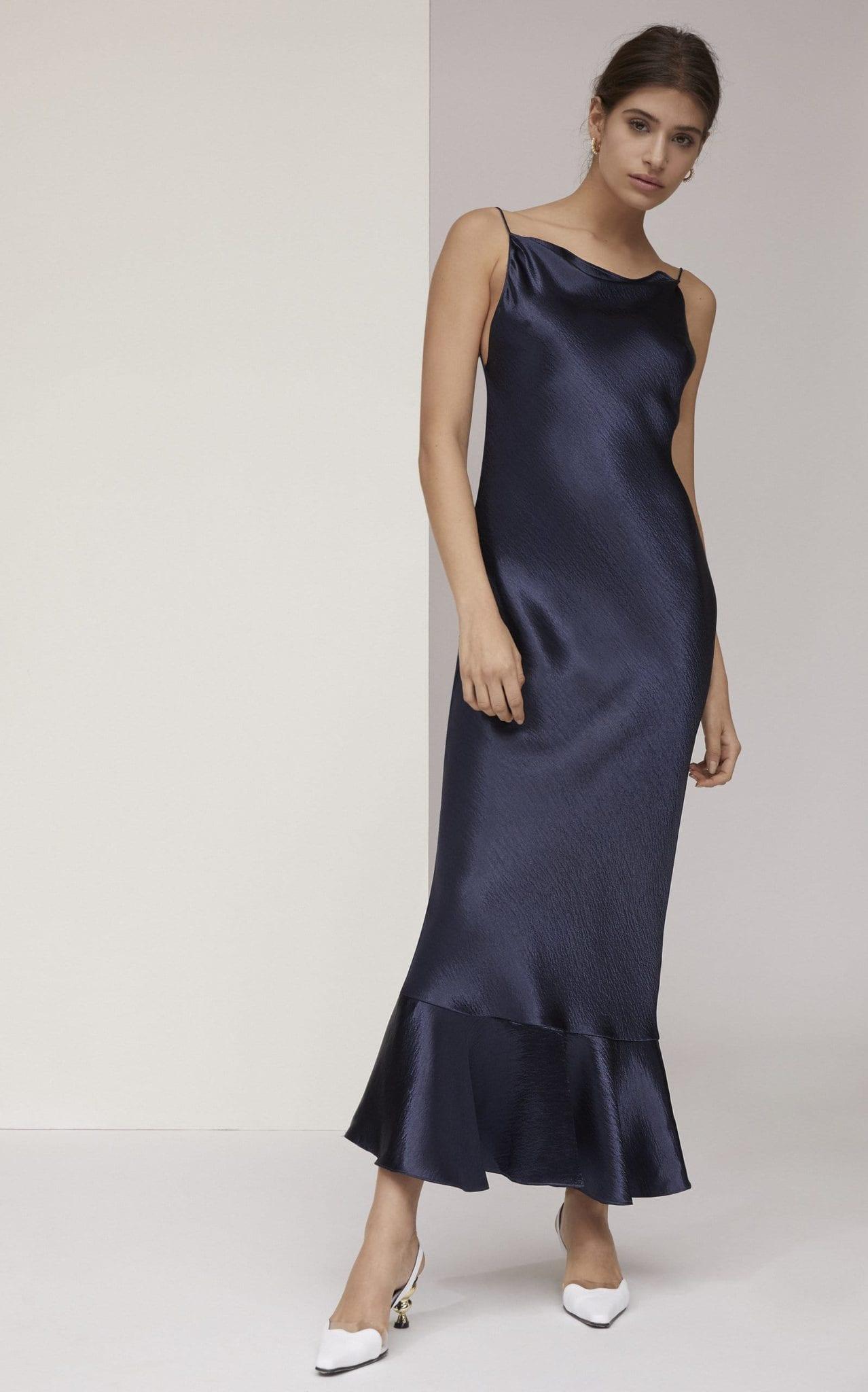 SALONI Stella Ruffled Satin Midi Dress