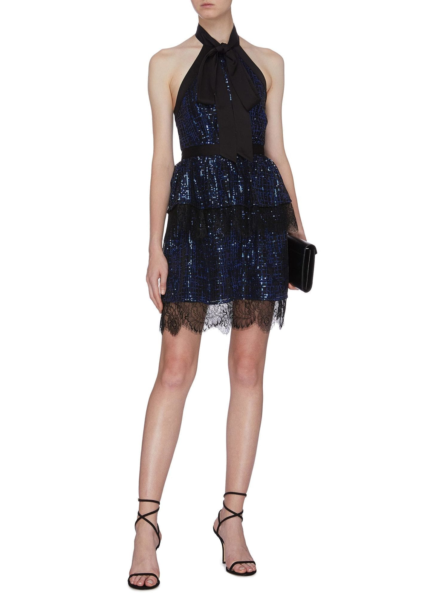 SELF-PORTRAIT Sequin Check Lace Trim Tiered Halter Neck Dress