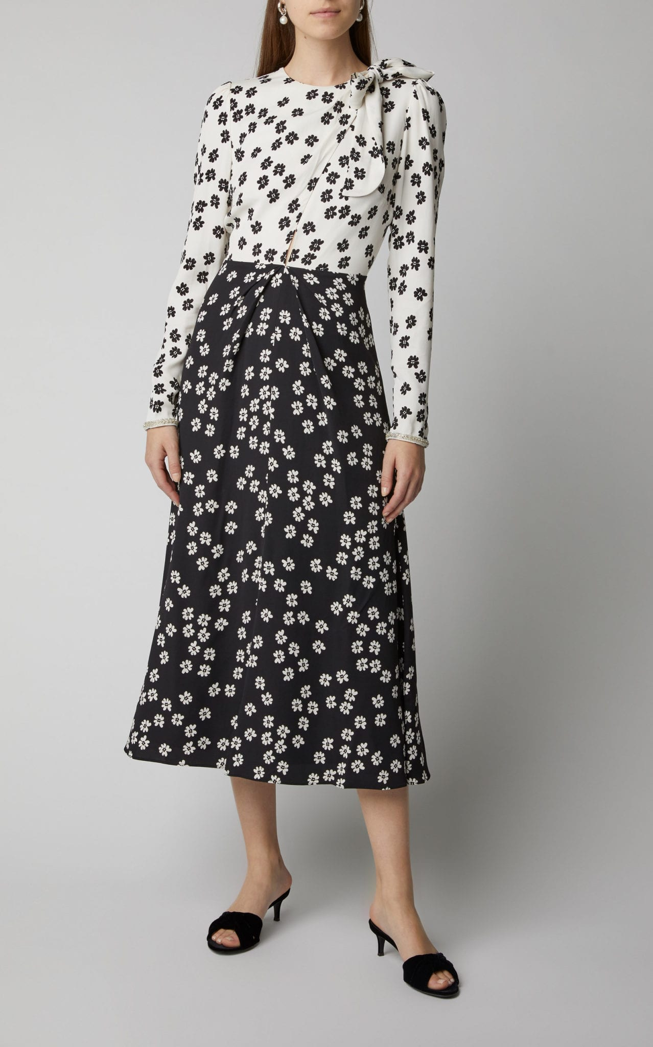 SELF PORTRAIT Two-Tone Floral-Print Crepe Midi Dress