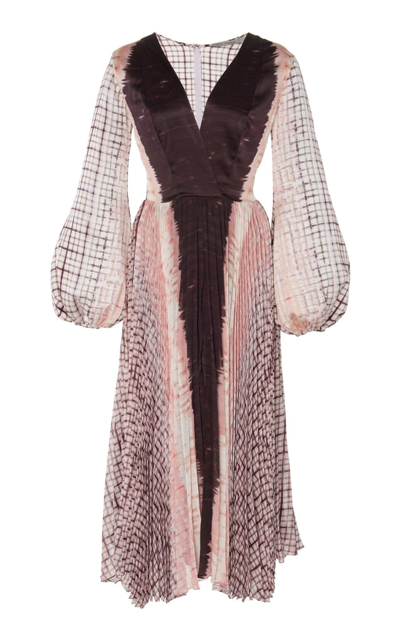 SILVIA TCHERASSI Darcy Checked Pleated Silk-Chiffon Maxi Dress