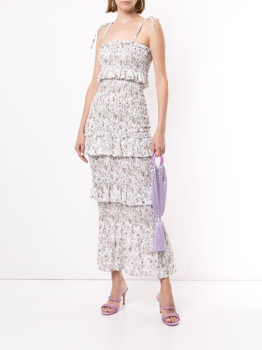 SIR. Haisley Floral Ruched Midi Dress