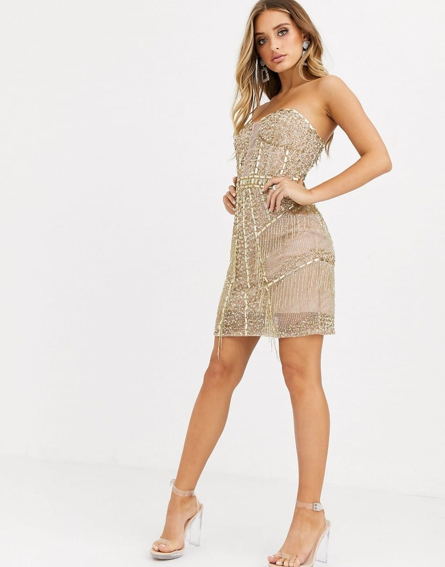 STARLET Strapless All-over Embellished Mini Bodycon Dress