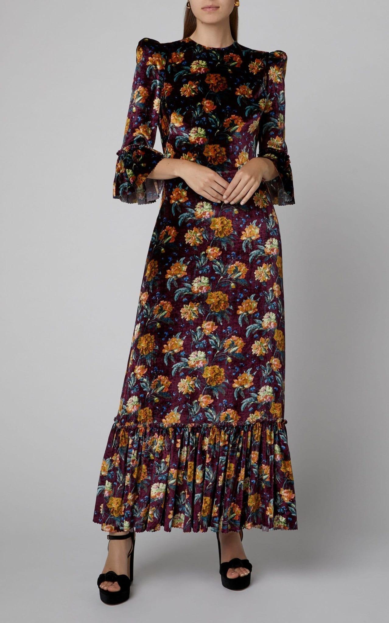 THE VAMPIRE'S WIFE Ruffled Floral-Print Velvet Maxi Dress