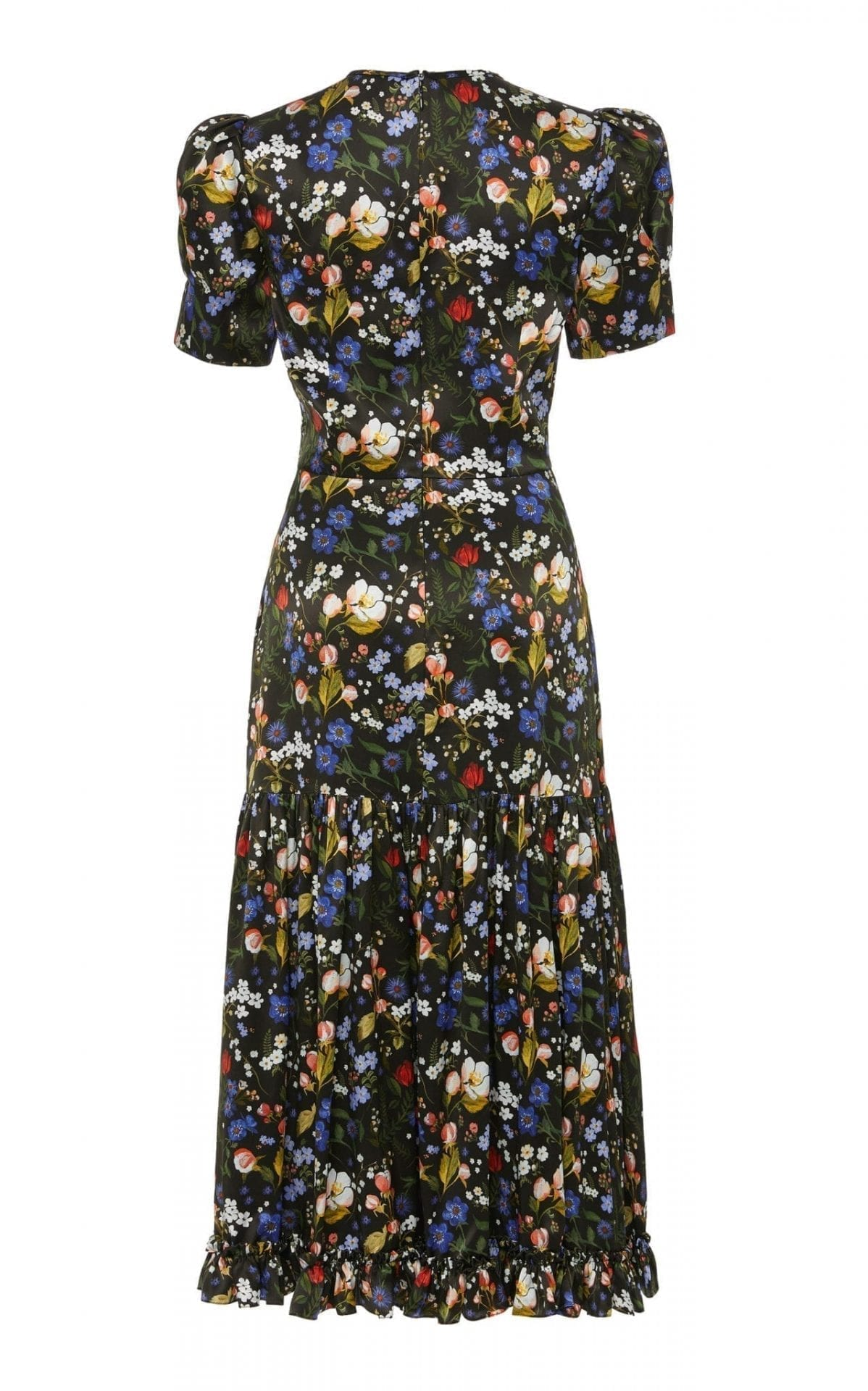 THE VAMPIRE'S WIFE The Hummingbird Floral-Print Silk-Satin Midi Dress
