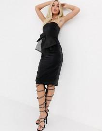 UNIQUE21 Oversized Organza Bow Bodycon Midi Dress