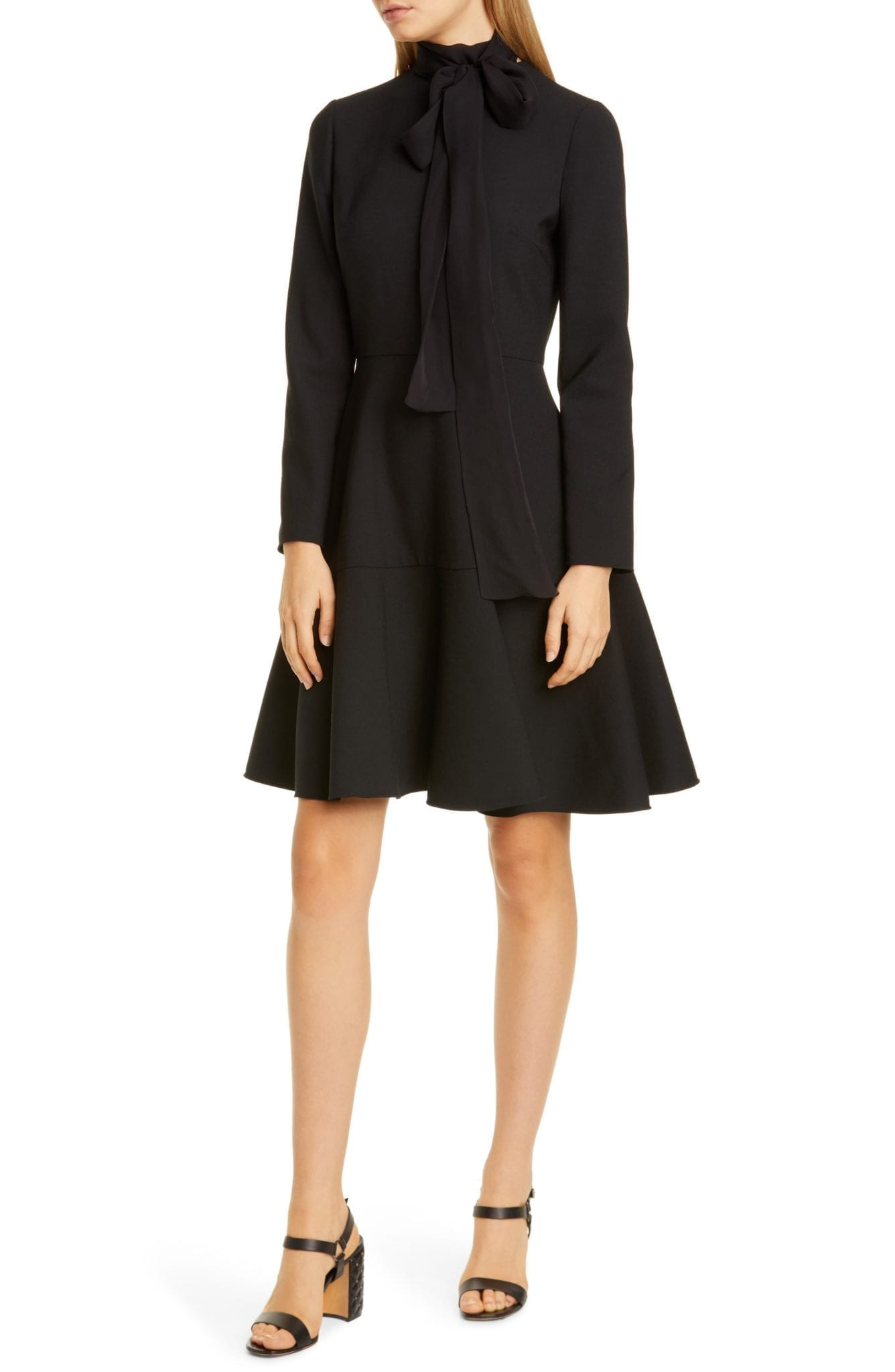 VALENTINO Tie Neck Long Sleeve Mini Dress