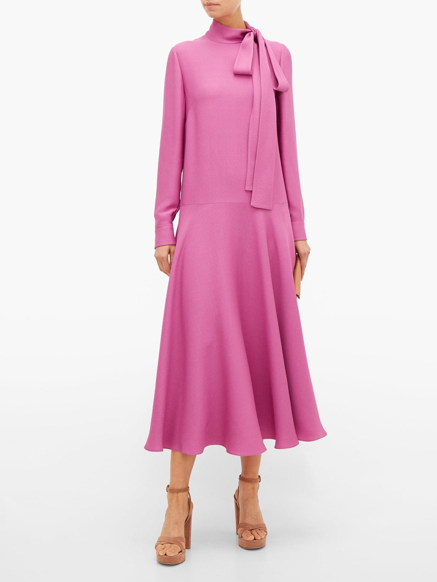 VALENTINO Tie-neck Dropped-waist Crepe Midi Dress