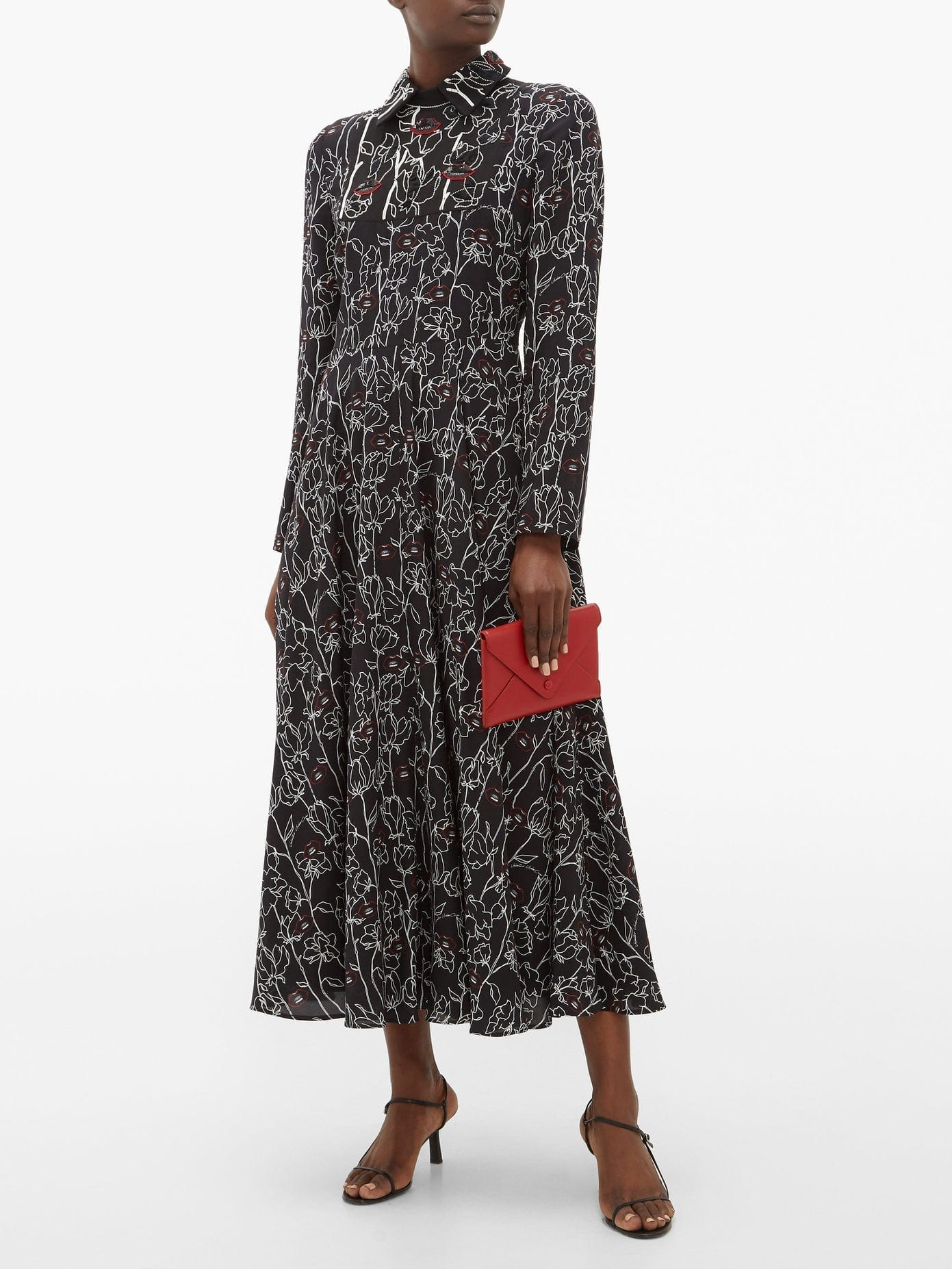 VALENTINO X Undercover Lip Floral-print Silk Dress