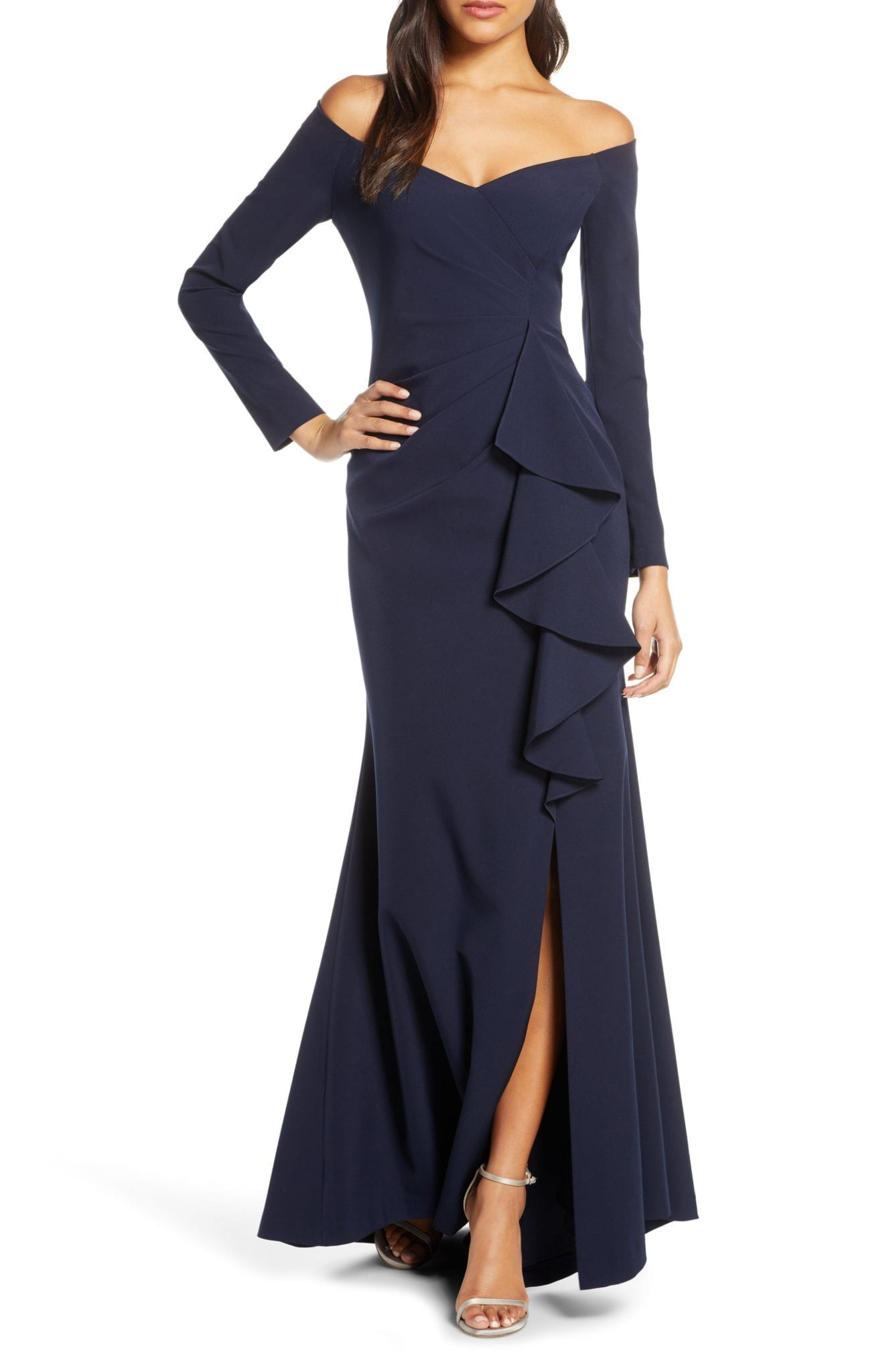 VINCE CAMUTO Off the Shoulder Long Sleeve Evening Gown