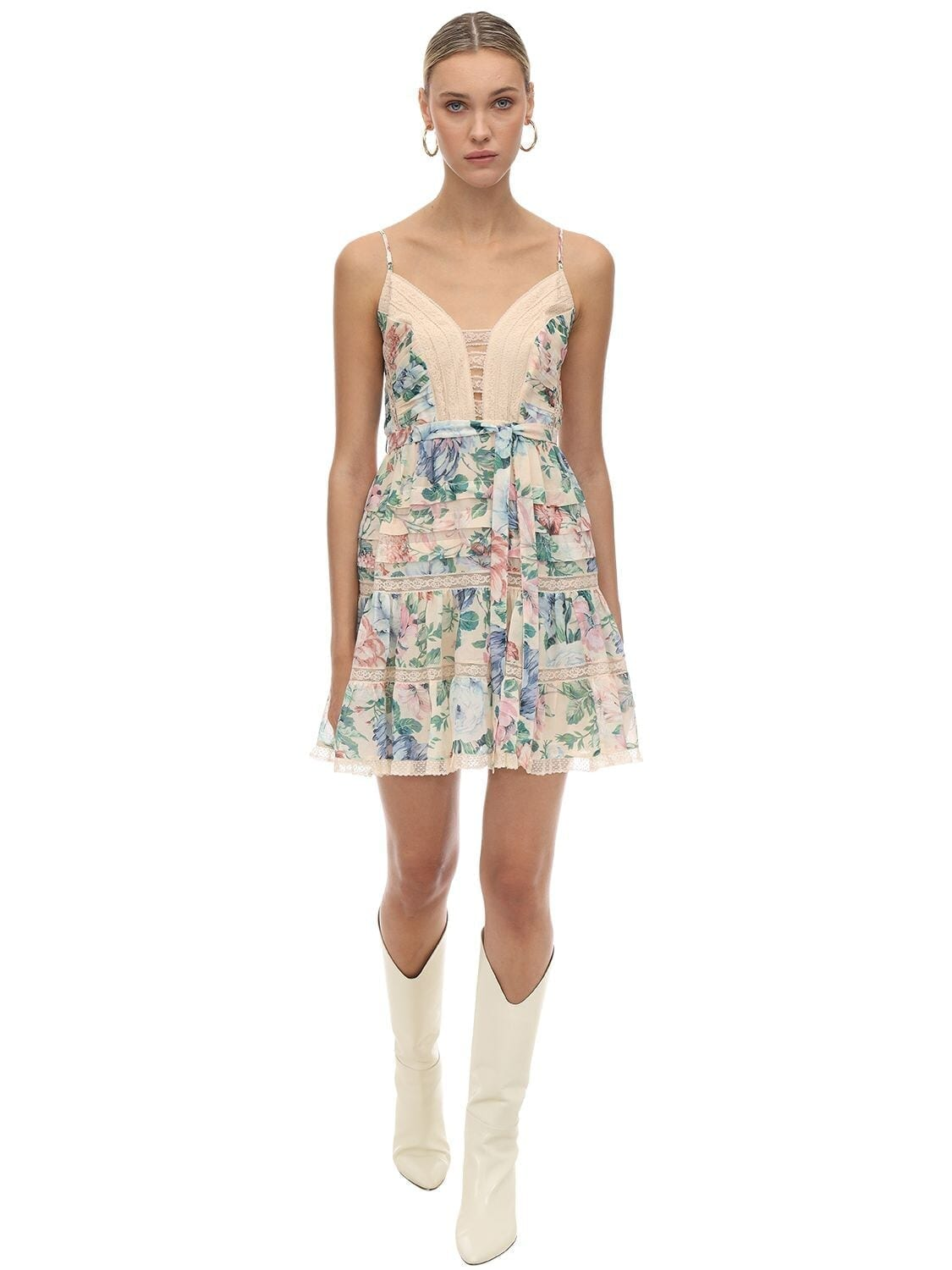 ZIMMERMANN Printed Cotton & Silk Mini Dress